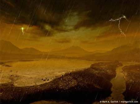 Wizja artystyczna opadów deszczu na Tytanie, Credits: Mark Garlick (Space-art.co.uk)