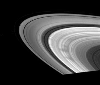 Szprychy w pierścieniu B, Pan, Pandora i Janus, Credits: NASA
