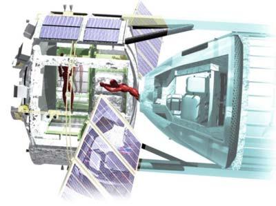 Schemat połączenia modułów  orbitalnego i powrotnego, Credits: JAXA