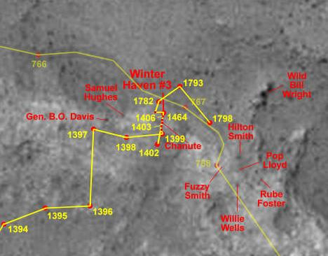 Mapa położenie  łazika Spirit na sol 1798, Credits: Eduardo Tesheiner/NASA/JPL/UA