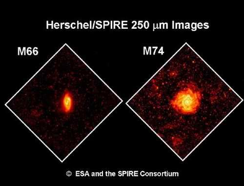 Uzyskiwane obrazy satelity Herschel (Cred. ESA)