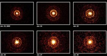 Obrazy rentgenowskie źródła SGR J1550-541 z teleskopu XRT na satelicie Swift. Cred. NASA/Swift/Jules Halpern (Columbia University).