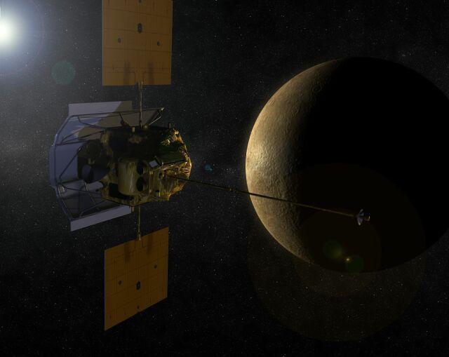 MESSENGER zbliżający się do planety Merkury - wizja artystyczna / (NASA)