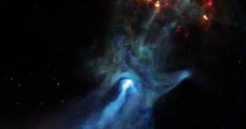 Otoczenie pulsara PSR B1509-58 na obrazie z ACIS (Cred. NASA/CXC/SAO/P.Slane, et al.)