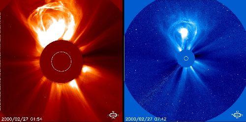 Fantastyczny obraz wyrzutu materii koronalnej (CME) z 2000 roku / Credits - ESA, NASA, SOHO