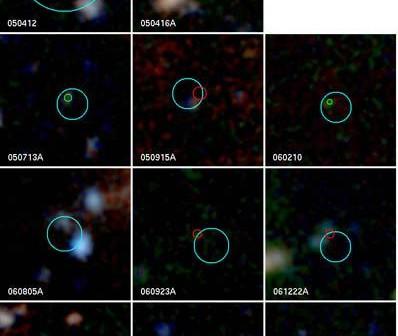 Obrazy galaktyk macierzystych ciemnych rozbłysków z Teleskopu Kecka. Cred. Daniel Perley, Joshua Bloom/UC Berkeley