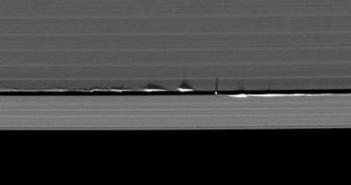 Fale wytwarzane przez Daphnis i ich cienie. Cred/ NASA/JPL.