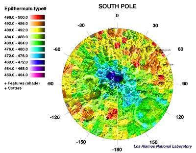 Koncentracja wodoru, zmierzona przez sondę Lunar Prospector /  Credits - NASA, Los Alamos National Laboratory