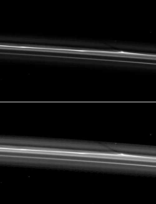 Obrazy  jasnej struktury w pierścieniu F (NASA/JPL)