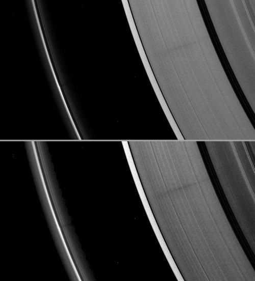 Wybrzuszenie na skraju pierścienia F  rzucające słaby cień aż na pierścień A (NASA/JPL)