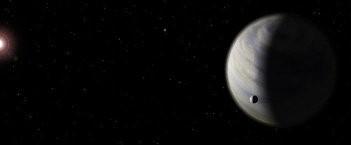 Wizja artystyczna planety Gl 581 d z hipotetycznym księżycem / Credits - user debivort