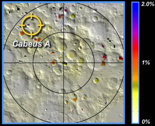 Potencjalna  koncentracja lodu wodnego w południowych obszarach podbiegunowych  Księżyca / Credits - NASA, LCROSS team, JPL