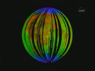 Wyniki z instrumentu M3 zainstalowanego na sondzie Chandrayaan-1 - na niebiesko zaznaczona jest woda (globalny rozkład) / Credits - NASA TV