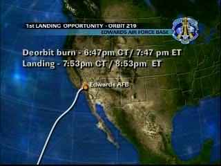 Podejście do lądowania do bazy Edwards / Credits - NASA TV