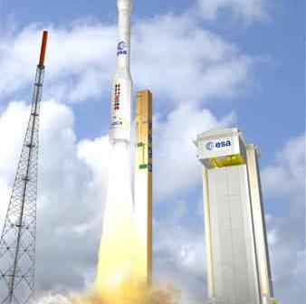Wizja artystyczna startu rakiety Vega, credits: ESA / J. Huart
