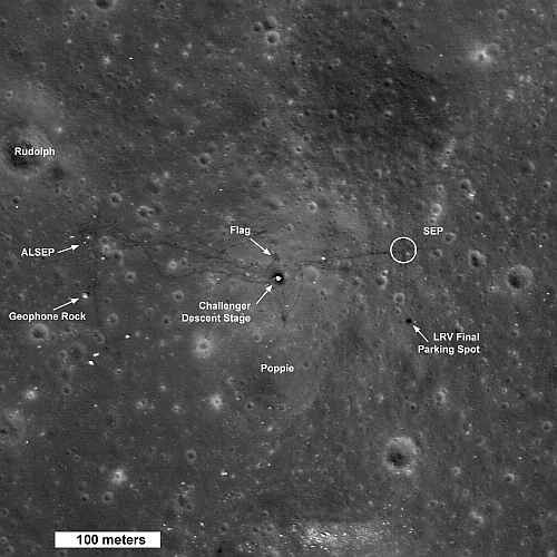 Region lądowania Apollo17, credits: NASA/GSFC/Arizona State University