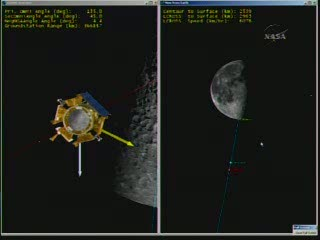 13:12 CEST -   położenie Centaura i LCROSS względem Księżyca / Credits - NASA TV