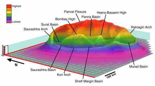 Diagram przedstawiający przypuszczalny basen uderzeniowy Shiva, credits: Sankar Chatterjee, Texas Tech University
