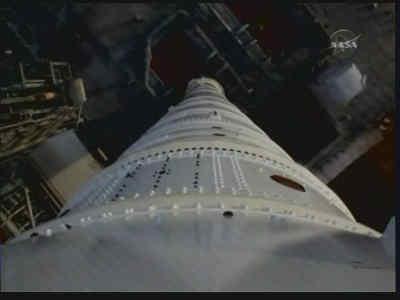 Widok z kamery zamontowanej na górnym stopniu rakiety, credits: NASA