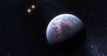 Wizja artystyczna GJ 667C b, w oddali widoczne dwie gwiazdy towarzyszące (ESO)