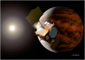 Wizja artystyczna sondy Akatsuki na orbicie Wenus