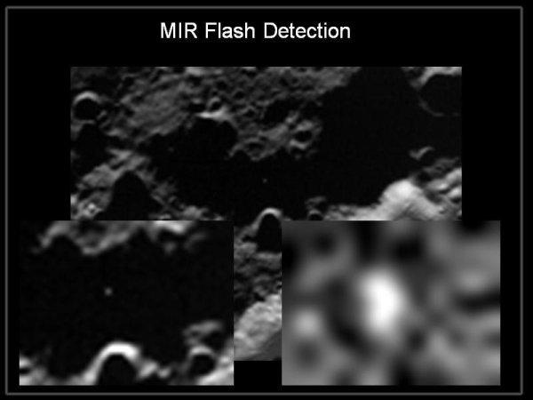Uderzenie stopnia Centaur widziane z sondy LCROSS / Credits - NASA   TV