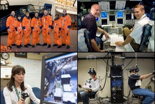 U góry po lewej: załoga misji STS-131, po prawej Poindexter i Dutton w symulatorze wahadłowca. Na dole po lewej: Yamazaki podczas ćwiczeń obsługi ramienia, po prawej Anderson i Mastracchio ćwiczą wykonywanie czynności podczas spaceru kosmicznego (NASA)