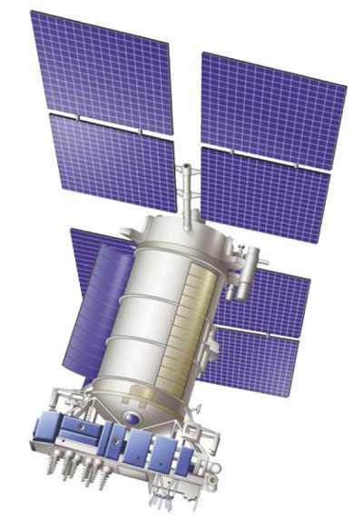 Wizualizacja satelity z serii  Uragan (credits NPO PM)