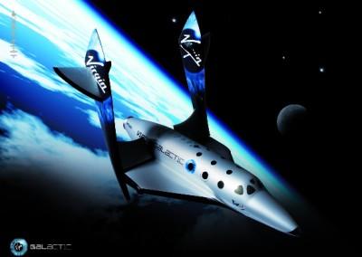 Wizja artystyczna SpaceShipTwo w locie suboribtalnym / Credits: virgingalactic.com