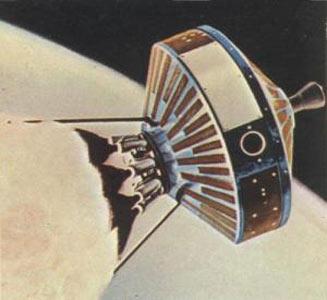 Wizja artystyczna próbnika Pioneer-Able w trakcie lotu (NASA)