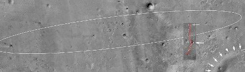 Mozaika zdjęć z sondy Mars Global Surveyor (MGS) wraz z nałożoną trasą przebytą przez łazik Opportunity (kolor czerwony). Zaznaczono także krawędź krateru Endeavour. Credits: Eduardo Tesheiner/NASA/JPL/UA/unmannedspaceflight.com