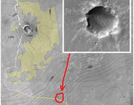 Planowana trasa do krateru Endeavour. Na grafice został także zaznaczony fragment zdjęcia z sondy MRO pokazujący krater znajdujący się na planowanej trasie.