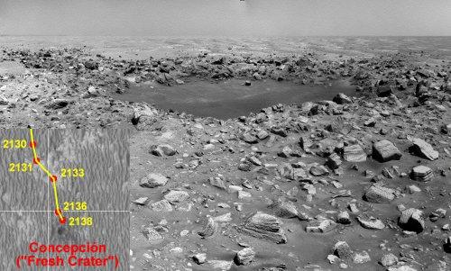 Zdjęcie krateru Concepción. W lewym dolnym rogu mapka pokazująca położenie łazika podczas dnia marsjańskiego Sol-2138. Credits: Eduardo Tesheiner/NASA/JPL/UA/unmannedspaceflight.com