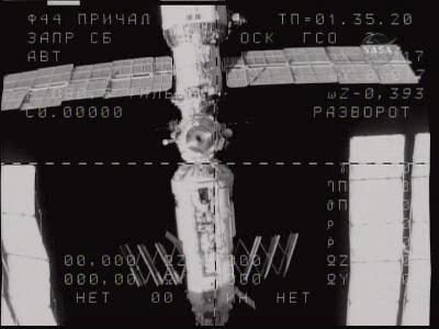 Soyuz zbliża się do punktu cumownicznego, credits: NASA TV