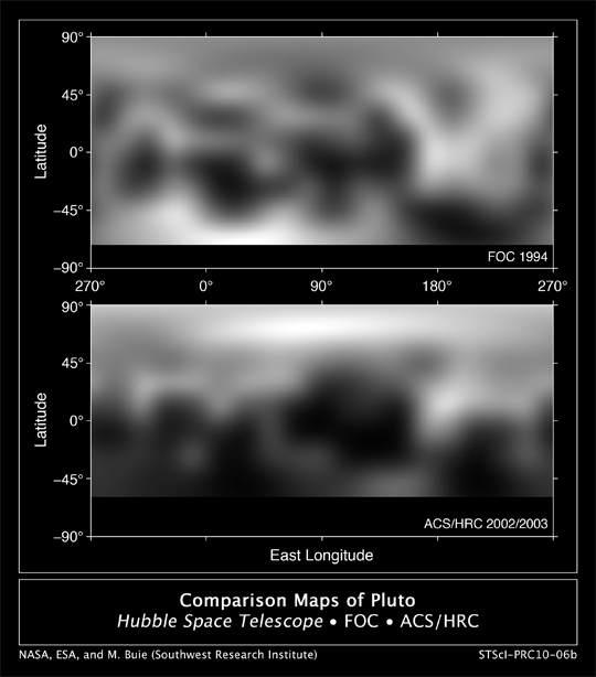 Porównanie map  Plutona z roku 1994 (górny obrazek) i 2002-2003 (dolny obrazek). Ciemny  pasek na dole to obszar, który nie jest widoczny z Ziemi wskutek  nachylenia Plutona względem naszej planety. / Credits: NASA, ESA, and M.  Buie (Southwest Research Institute)