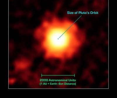 Obraz w podczerwieni układu HR 7899 uzyskany przez teleskop Spitzer'a credits: Courtesy NASA/JPL-Caltech/K. Su (University of Arizona)