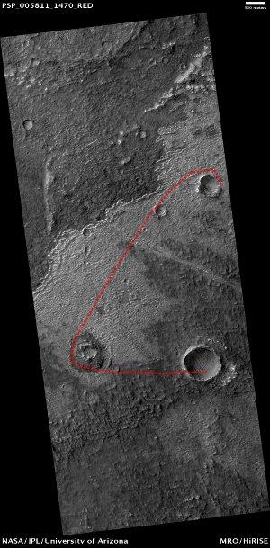 Pomniejszone zdjęcie obszaru sfotografowanego przez kamerę HiRISE. Credits: NASA/JPL/University of Arizona