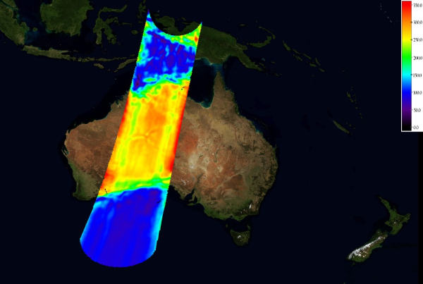 Australia - nieskalibrowane dane z SMOS, (c) ESA