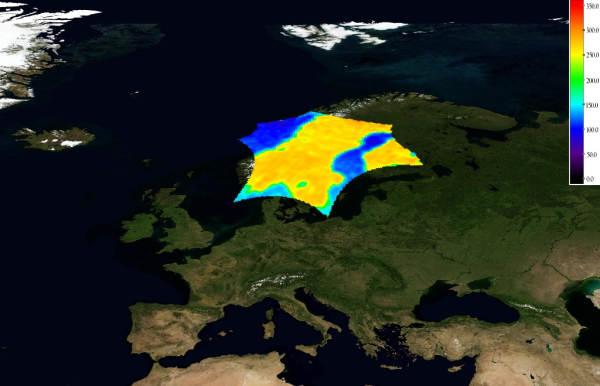 Temperatura jasnościowa Skandynawii, (c) ESA