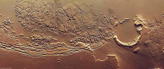 Kasei Valles oraz Sacra Fossae na obrazie uzyskanym przez Mars Express credits: ESA / DLR / FU Berlin (G. Neukum)