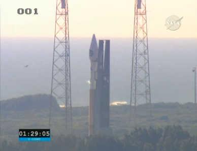 Napełnianie zbiornika ciekłego tlenu Centaura, credits: NASA TV