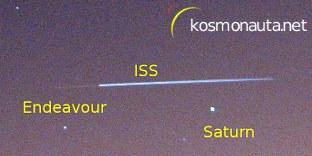 Przelot pary ISS i Endeavour - 20.02.2010 / Credits - K. Kanawka, kosmonauta.net