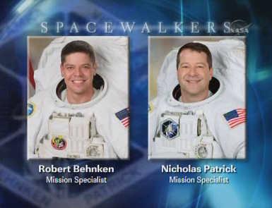 Nick Patrick oraz Bob Behnken, zespół EVA-1, credits: NASA TV