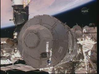 Moduł Node 3 z widokiem na Afrykę... / Credits - NASA TV