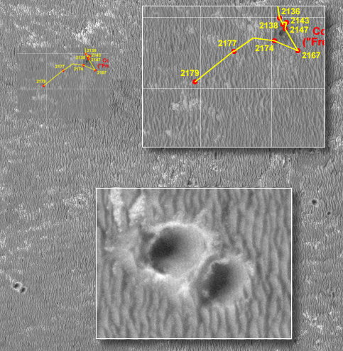 """Lokalizacja Opportunity podczas dnia marsjańskiego Sol-2179. Na mapce zaznaczono także powiększony fragment zdjęcia z sondy MRO ukazujący """"Twin Crater"""" Credits: NASA/JPL/Eduardo Tesheiner/Krzysztof Kajda"""