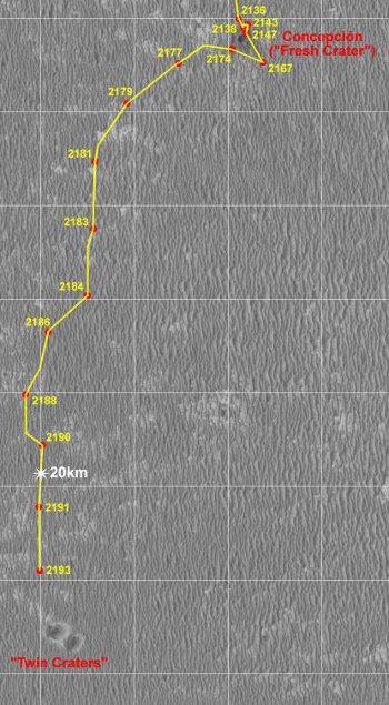 Trasa jaką przebył Opportunity od krateru Concepción do kompleksu kraterów Twin Craters Credits: NASA/JPL/Eduardo Tesheiner