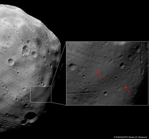 Zbliżenie na planowany rejon lądowania rosyjskiej sondy  Fobos-Grunt, credit: ESA/DLR/FU Berlin (G. Neukum)