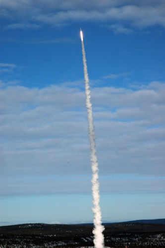 Start rakiety suborbitalnej Maxus 8 z wyrzutni w pozbliżu Kiruny w Szwecji, credit SSC