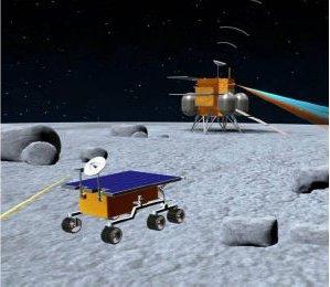 Wizualizacja łazika Chang'e-3 na powierzchni Księżyca, credit: Xinhua