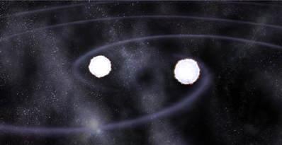 Wizja artystyczna ciasnego układu podwójnego HM Cancri, credit: GSFC/D.Berry